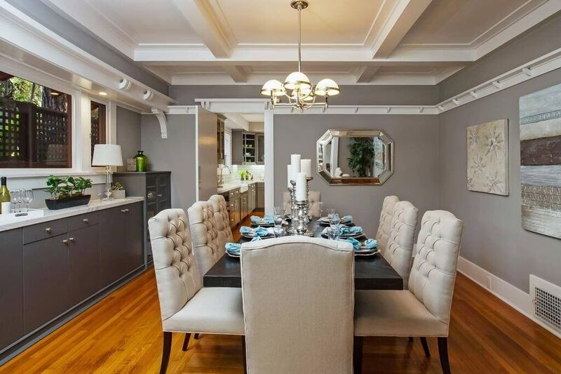 Dining room staging with cream and grey accents